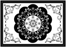 Luxury white frame with black wavy oval border and white pattern in the center of the spiral strips with leaves and black border w. Vintage white frame with royalty free illustration
