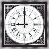 Luxury white gold metal clock with Roman number Royalty Free Stock Photo