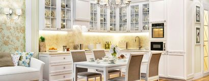 Luxurious White Kitchen In A Big House Stock Photo Image Of Dining Home 149725974