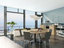 Luxury white kitchen interior with wooden furniture Royalty Free Stock Photo