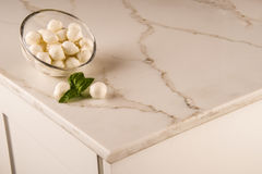 Luxury white kitchen marble countertop. Marble counter concept. White carrara counter. Stock Images