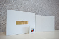 Luxury white leather wedding photo album Stock Photo