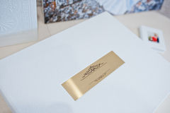 Luxury white leather wedding photo album Royalty Free Stock Photo