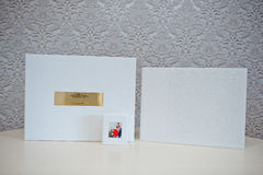 Luxury white leather wedding photo album Stock Image