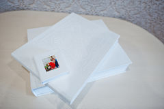 Luxury white leather wedding photo album Stock Photography