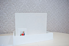 Luxury white leather wedding photo album Stock Photos