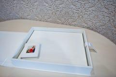 Luxury white leather wedding photo album Royalty Free Stock Photos