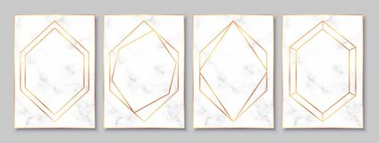 Luxury posters set with white marble texture and gold polygonal frames. Luxury white marble posters set with gold polygonal frames. Vintage templates in art stock illustration