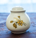 Luxury white porcelain saltshaker. With pretty decorations on a decorated cover stock image