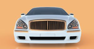 Luxury white sedan car on an orange background with reflections. 3D rendering. Stock Images