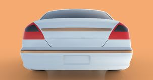 Luxury white sedan car on an orange background with reflections. 3D rendering. Royalty Free Stock Photos