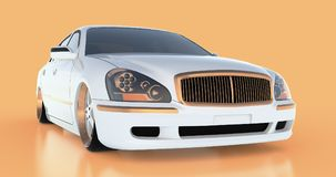 Luxury white sedan car on an orange background with reflections. 3D rendering. Luxury white sedan car on an orange background with reflections. 3D rendering Royalty Free Stock Photography