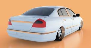 Luxury white sedan car on an orange background with reflections. 3D rendering. Luxury white sedan car on an orange background with reflections. 3D rendering Royalty Free Stock Photo