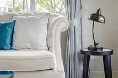 Luxury white sofa with lamp in living room Royalty Free Stock Photography