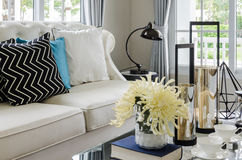 Luxury white sofa in living room with flower in vase Royalty Free Stock Photo