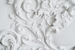 Luxury white wall design bas-relief with stucco mouldings roccoco element.  Stock Image