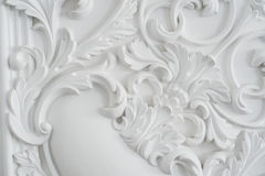 Luxury white wall design bas-relief with stucco mouldings roccoco element Royalty Free Stock Photos