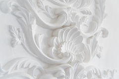 Luxury white wall design bas-relief with stucco mouldings roccoco element Stock Image