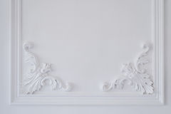 Luxury white wall design bas-relief with stucco mouldings roccoco element Stock Photography