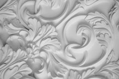 Luxury white wall design bas-relief with stucco mouldings roccoco element Stock Images