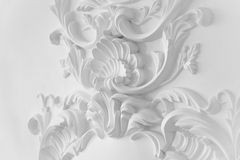 Luxury white wall design bas-relief with stucco mouldings roccoco element Royalty Free Stock Image