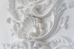 Luxury white wall design bas-relief with stucco mouldings roccoco element Stock Photo