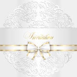 Luxury white wedding invitation with rounded lace Royalty Free Stock Images
