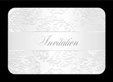 Luxury white wedding invitation with rounded lace Stock Photos
