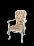 Luxury white wooden chair gold leather Royalty Free Stock Photos