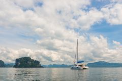 Luxury white yacht in the beautiful bay of Thailand. In Krabi province Stock Image