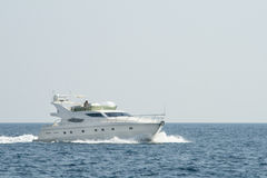 Luxury white yacht in the blue ocean Stock Photography