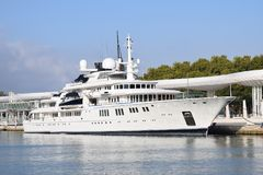 Luxury white yacht in the harbor Stock Image