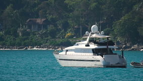 Luxury white yacht in harbor stock footage