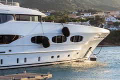 Luxury, white yacht moored in harbor Stock Images