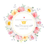 Luxury wild rose, orchid, carnation, pink flowers, blue berries and eucalyptus leaves round vector frame Stock Image