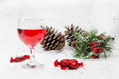 Luxury wine and chocolate sweets for the Christmas season. Stock Image