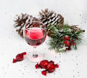 Luxury wine and chocolate sweets for the winter Christmas celebr Royalty Free Stock Photos