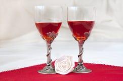 Luxury wine glasses. With white rose Stock Photo