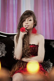 Luxury woman in fashion interior Stock Photos