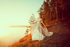 Luxury woman in a forest in a long vintage dress near the lake. Stock Images