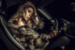 Free Luxury Woman In A Car. Stock Image - 34589271