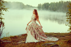 Free Luxury Woman In A Forest In A Long Vintage Dress Near The Lake. Stock Images - 43484644