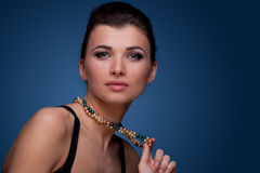 Luxury woman in pearl necklace stock images