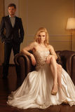 Luxury woman in rich interior Royalty Free Stock Image