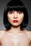 Luxury Woman With Fashion Make-up & Bob Hairstyle Stock Photo