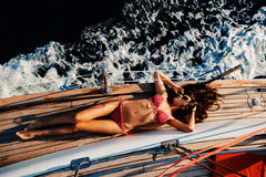 Luxury woman yachting in sea top view Stock Photos