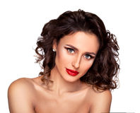 Luxury women. Photo of beautiful nude fashion female model with professional makeup and hairstyle on white background Royalty Free Stock Photos