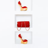 Luxury women's accessories. Stylish shoes and bag. Red accent in clothes Stock Photos