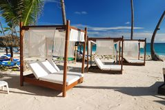 Luxury wooden chaise lounge. On beautiful caribbean beach in Dominican Republic Stock Photography