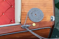 Luxury wooden motor boat - details Royalty Free Stock Photography